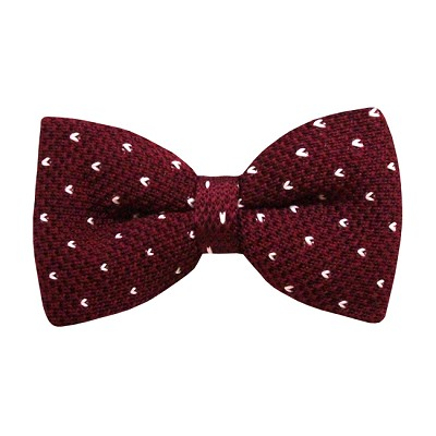 KBD-06 | Men's Maroon, Small Heart Dotted Pre-Tied Knit Bow Tie