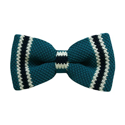 KBD-10 | Men's Oasis, White and Navy Blue Striped Pre-Tied Knit Bow Tie