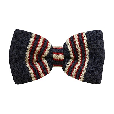 BKBD-11 | Men's Gray, Cream and Red Striped Pre-Tied Knit Bow Tie