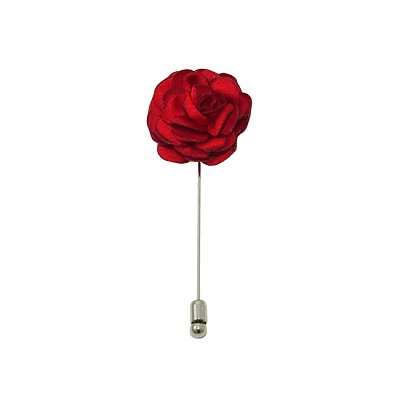 LAPS-01 | Solid Red Floral Lapel Pin