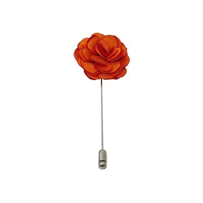 LAPS-03 | Solid Orange Floral Lapel Pin