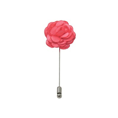 LAPS-06 | Solid Coral Rose Floral Lapel Pin