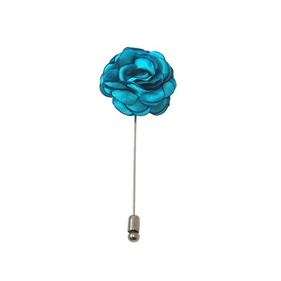 LAPS-18 | Solid Turquoise Blue Floral Lapel Pin
