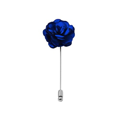 LAPS-36 | Solid Royal Blue Floral Lapel Pin