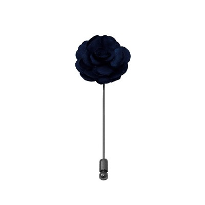 LAPS-53 | Solid Navy Blue Floral Lapel Pin
