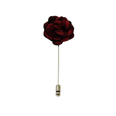 LAPS-62 | Solid Burgundy Floral Lapel Pin