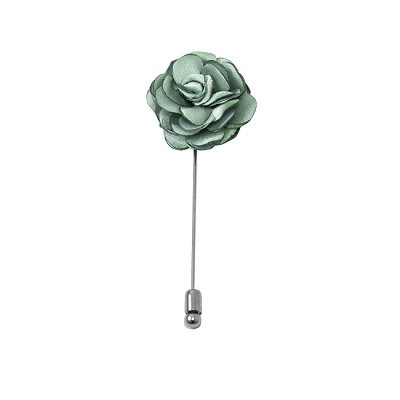LAPS-66 | Solid Light Sage Green Floral Lapel Pin