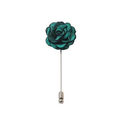 LAPS-84 | Solid Teal Green Floral Lapel Pin