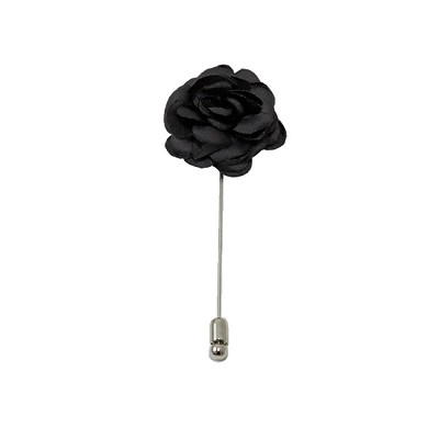 LAPS-90 | Solid Charcoal Gray Floral Lapel Pin