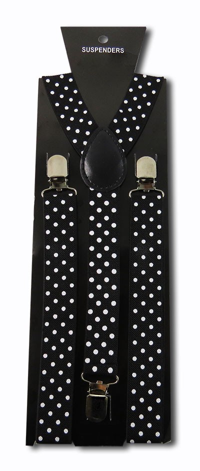 SUS-5820 | Solid Black and White Polka Dot Suspender