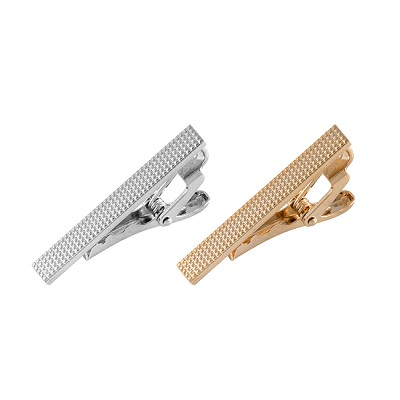 TBS-02 | Slim Micro Studded Metallic Tie Bar in Gold and Silver